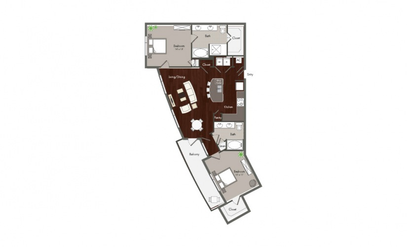 Moy - 2 bedroom floorplan layout with 2 baths and 1230 square feet.
