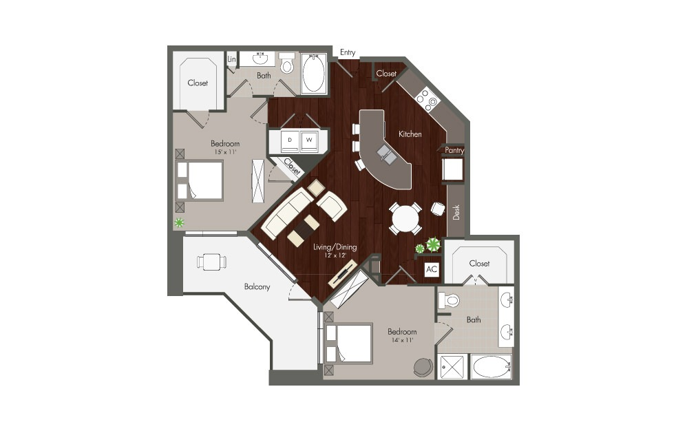 Nett - 2 bedroom floorplan layout with 2 baths and 1261 to 1262 square feet. (Preview)
