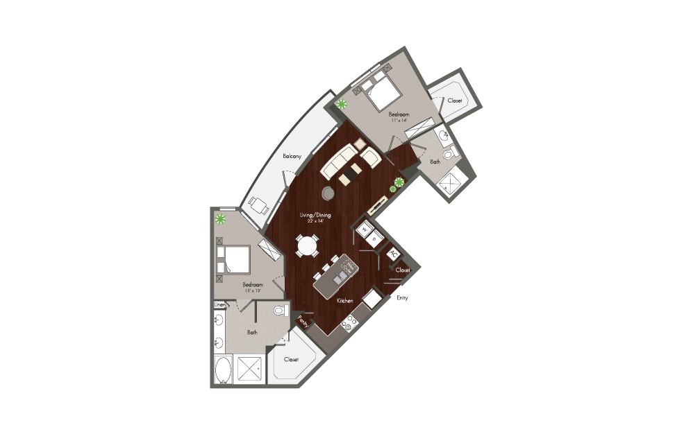 Parker - 2 bedroom floorplan layout with 2 baths and 1272 square feet. (Preview)