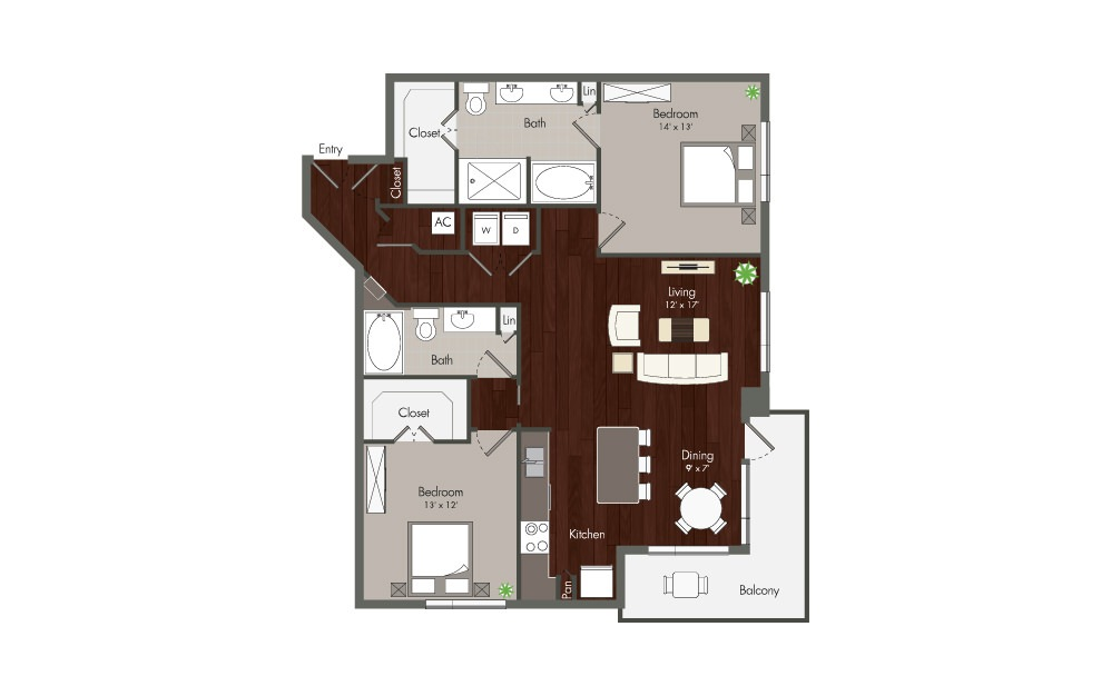 Rose - 2 bedroom floorplan layout with 2 baths and 1323 to 1394 square feet. (Preview)