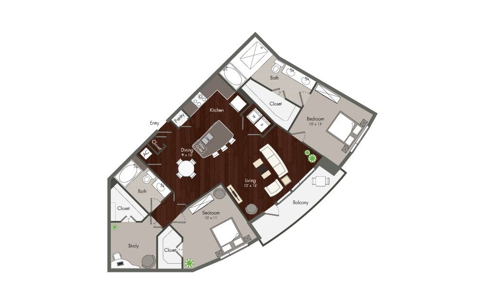 Tyne - 2 bedroom floorplan layout with 2 baths and 1326 square feet. (Preview)