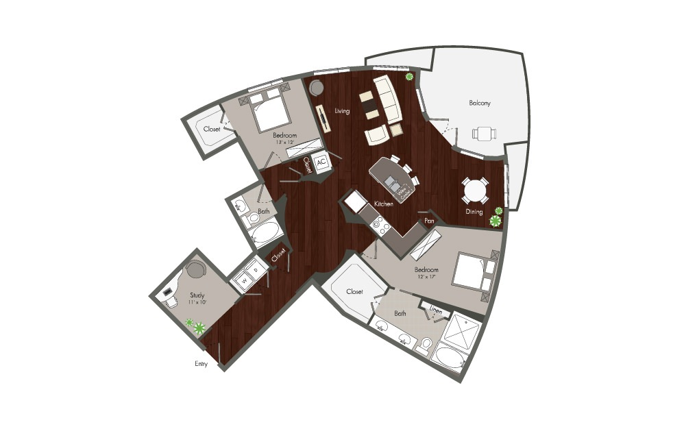 Washington - 2 bedroom floorplan layout with 2 baths and 1754 square feet. (Preview)