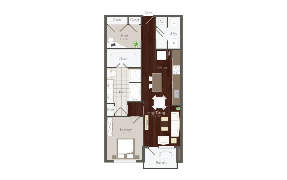 Haskell - 1 bedroom floorplan layout with 1 bath and 717 to 800 square feet.