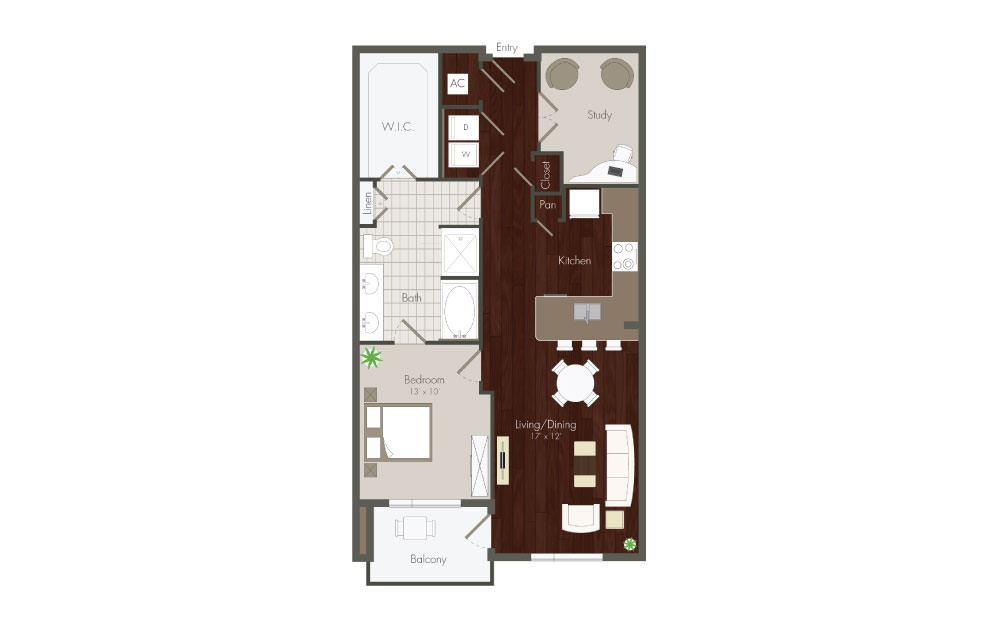 Knox - 1 bedroom floorplan layout with 1 bath and 923 to 1059 square feet.