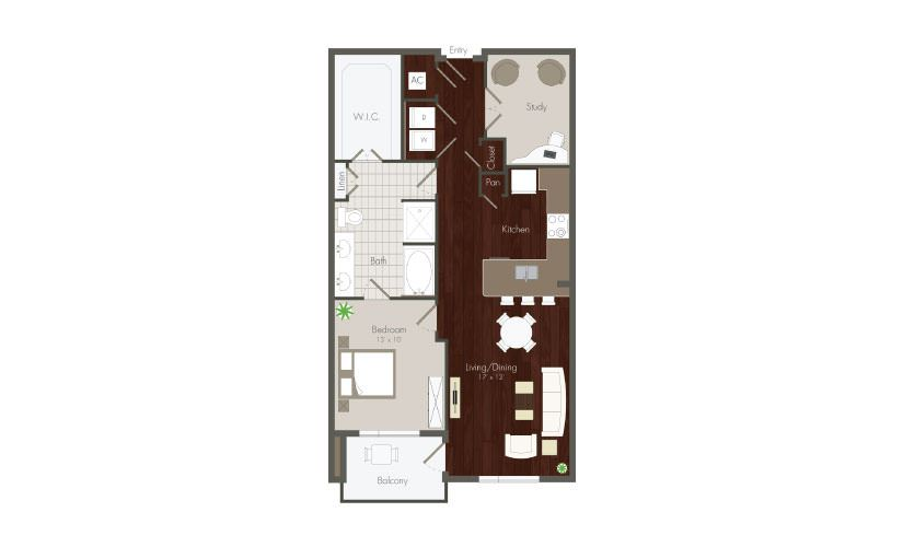 Knox - 1 bedroom floorplan layout with 1 bath and 923 to 1059 square feet. (Preview)